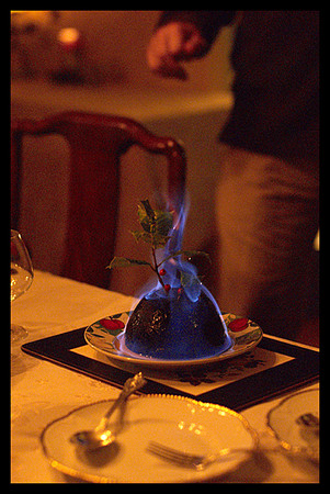 Christmas Pudding,Fire,Flaming Dessert